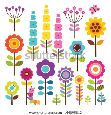set of retro style flowers and
