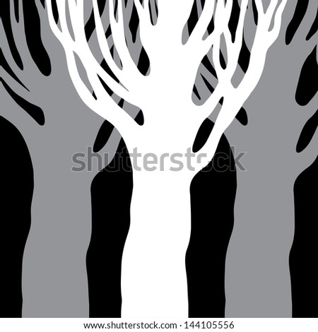 trees silhouettes isolated