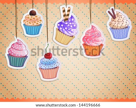 vector cute cupcake stickers