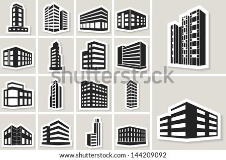 buildings vector web sticker