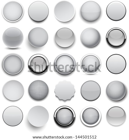 set of blank grey round buttons