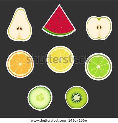 big group of fruits vector