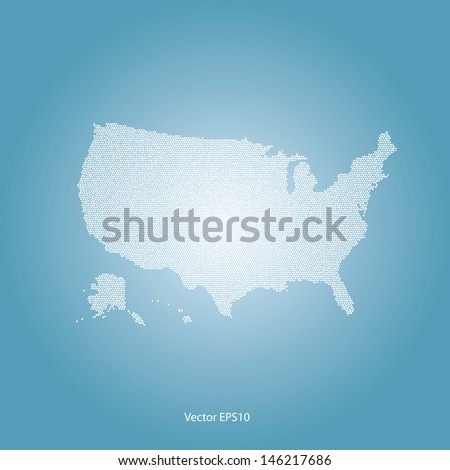 dotted usa map on blue