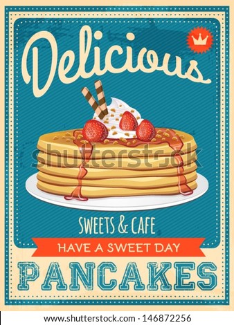 vector vintage styled pancakes