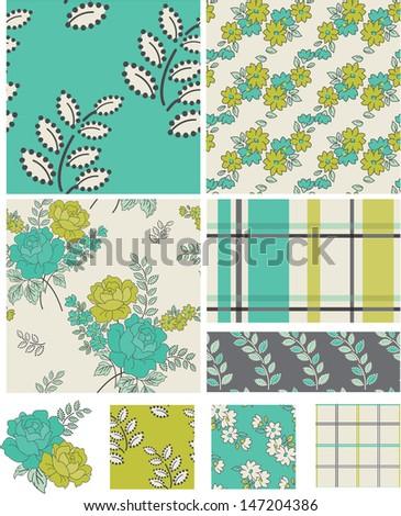 modern floral quilt vector