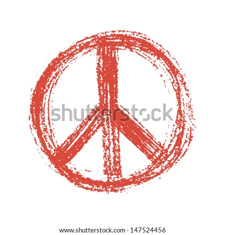 red peace symbol created in