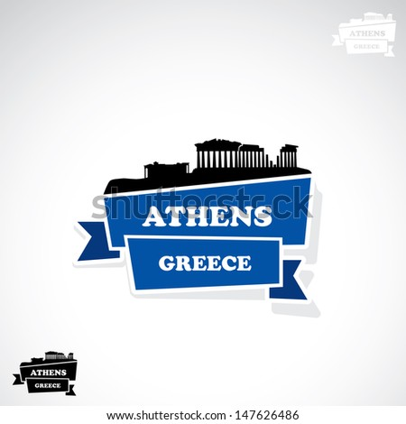 athens ribbon banner   vector