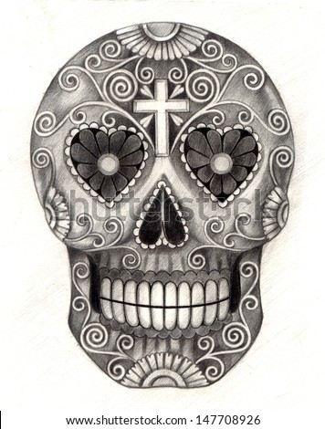 art skull day of the dead hand