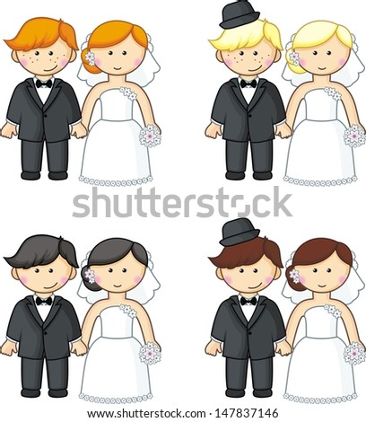 cartoon brides and grooms