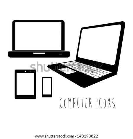 computer icons over white