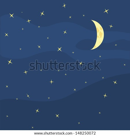 vector night sky   moon and