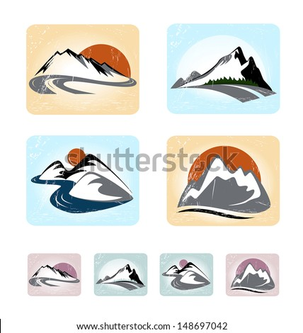 mountains emblem set
