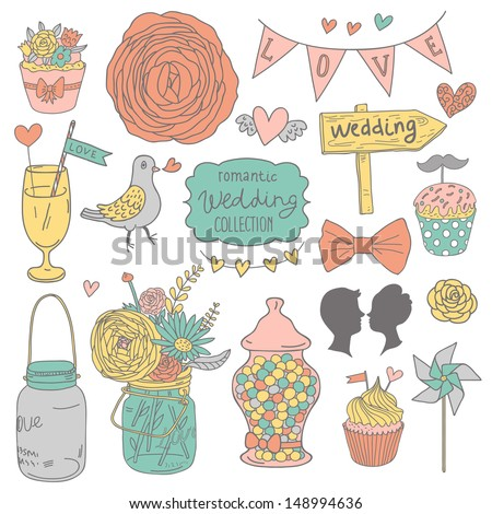 vintage vector wedding set