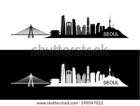 seoul skyline   vector