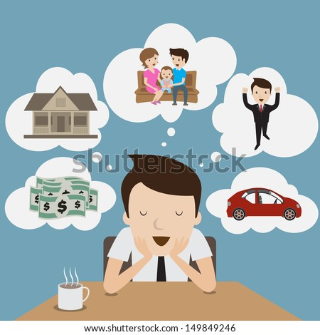 businessman dream at coffee