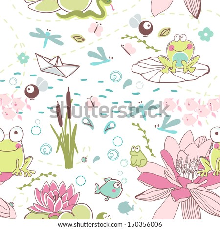 lake theme seamless pattern