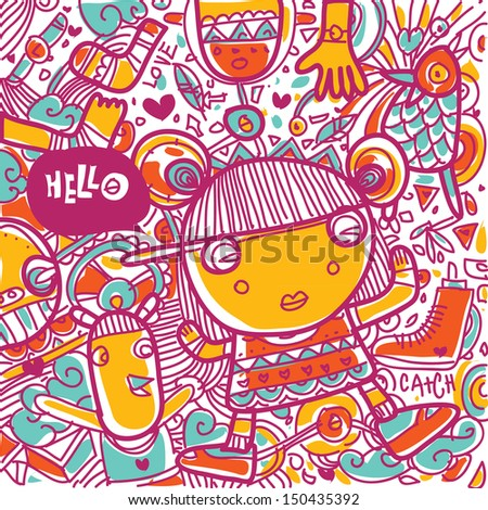 vector hello greeting card cute