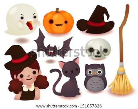 collection of cute halloween