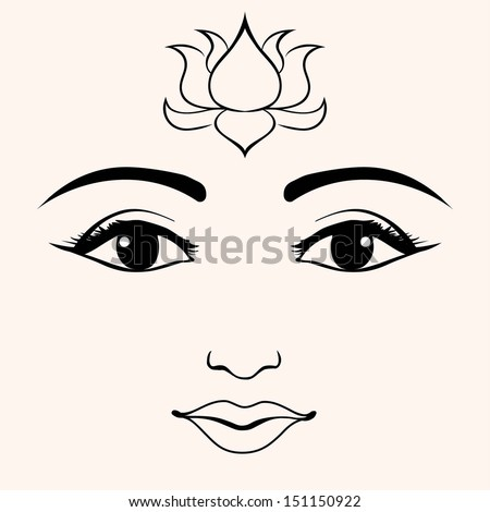 indian face with lotus