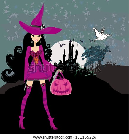 illustration of witch with