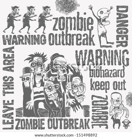 zombie doodles set  hand drawn