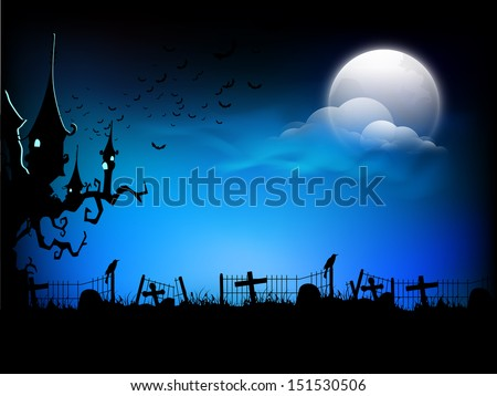 scary halloween moonlight night