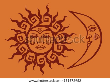 isolated icon of tribal sun and