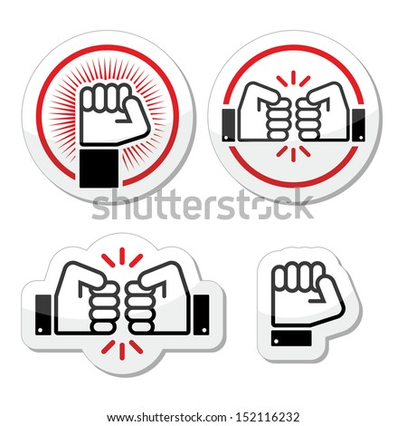 fist  fist bump vector icons set