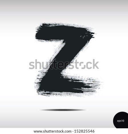 calligraphic watercolor letter z