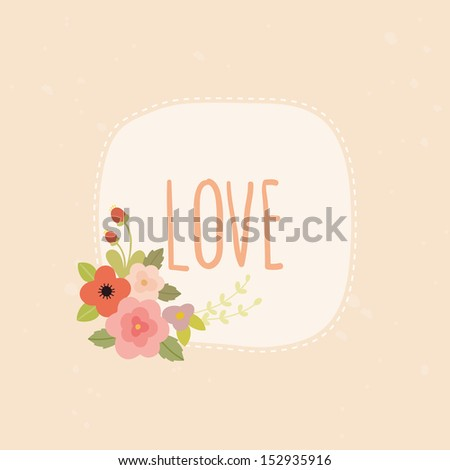 vector cute love card hand drawn