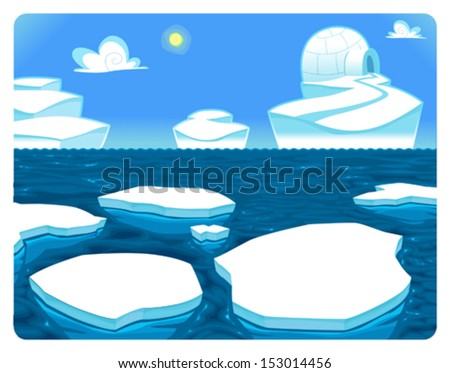 polar scene vector and cartoon