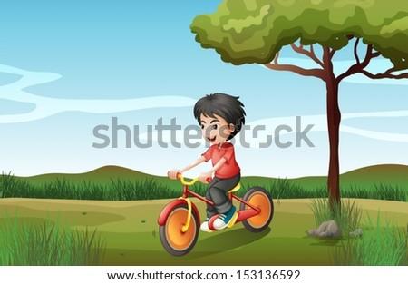 illustration of a boy biking at