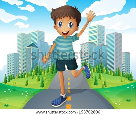 illustration of a boy waving