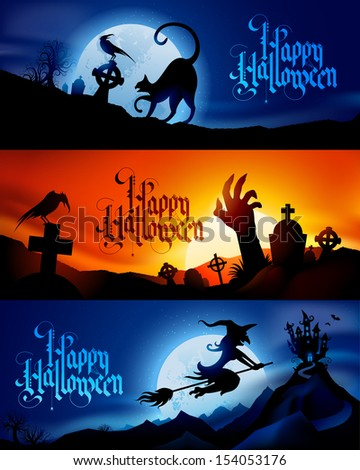 three scary vector halloween