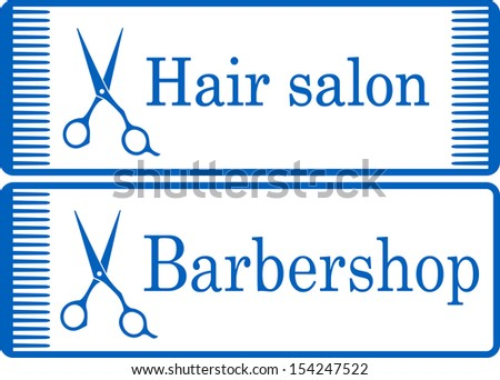 two blue barbershop signboard