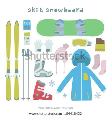 vector ski and snowboard