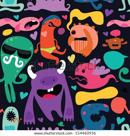 monster mix seamless pattern