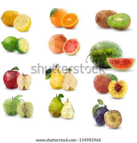geometrical stylized half fruits