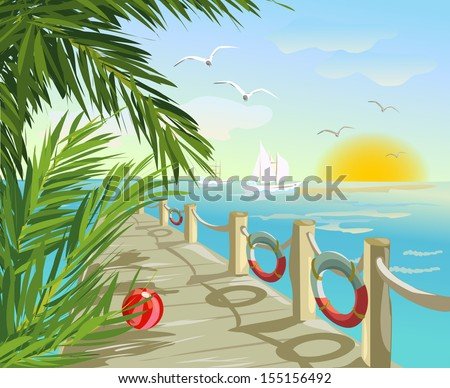 pier and seascape vector
