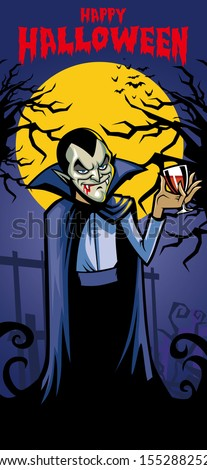 dracula with a glass of blood