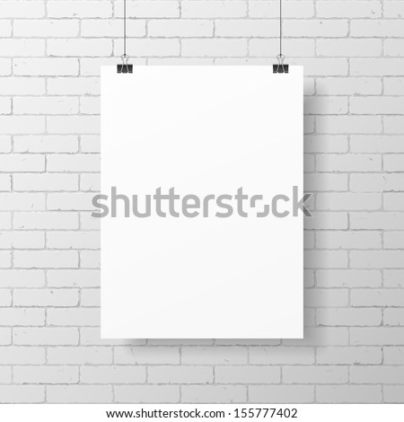 blank white poster hanging on