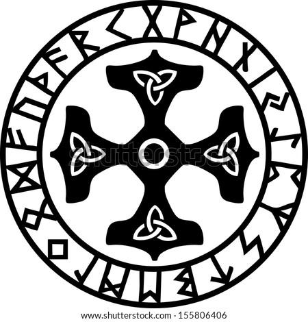 thor hammer  rune circle  amulet