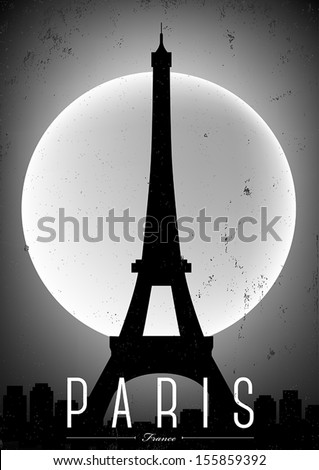 black white paris city poster