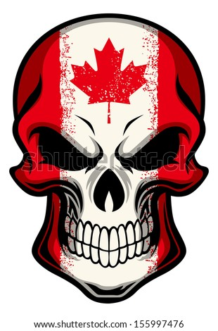 canada flag painted on a skull