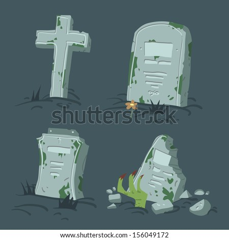 halloween tombs set vector
