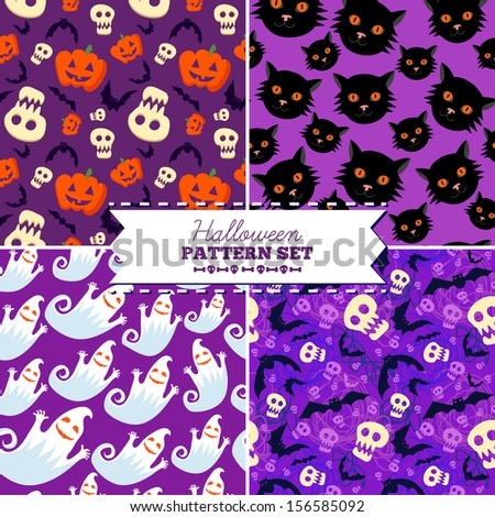 set of four halloween vector