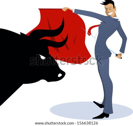 businessman torero fighting a