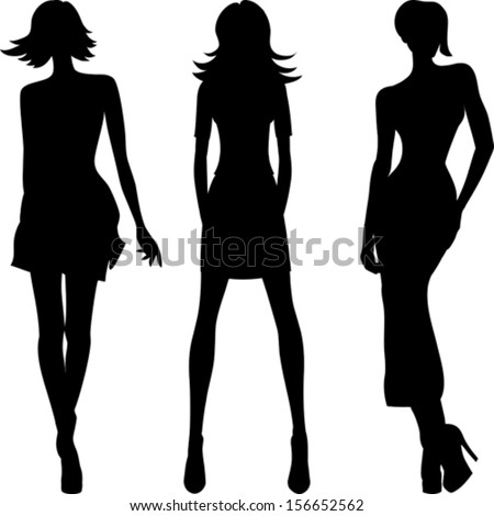 vector set 2 silhouette of