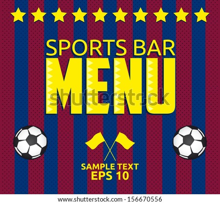 football   sports bar menu card