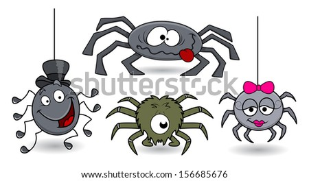 vector spiders funny   set